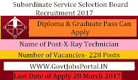 Subordinate Service Selection Board Recruitment 2017– 228 X-Ray Technician