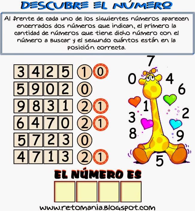 Descubre el número, Busca el número, El número escondido, Retos matemáticos, Desafíos matemáticos, Problemas matemáticos, Problemas de lógica, Problemas de ingenio