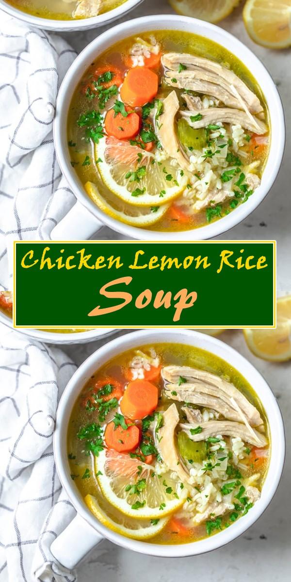 Chicken Lemon Rice Soup #souprecipes