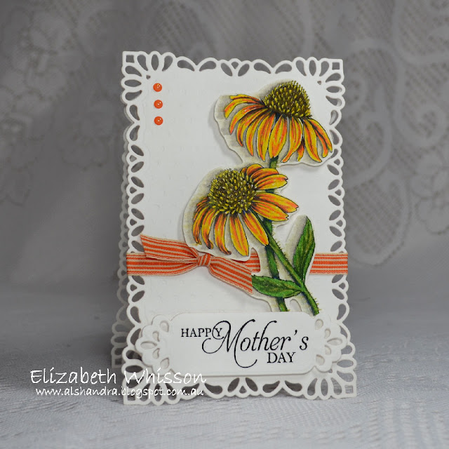 Elizabeth Whisson, Alshandra, Power Poppy, PowerPoppy, Easy Breezy Coneflowers, digital stamp, digi, Happy Mother's Day, Annabelle Stamps, Designer Flower, Spellbinders, Resplendent Rectangles, Fancy Framed Tags Two