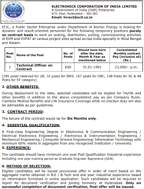 ECIL Technical Officer Online form 2021