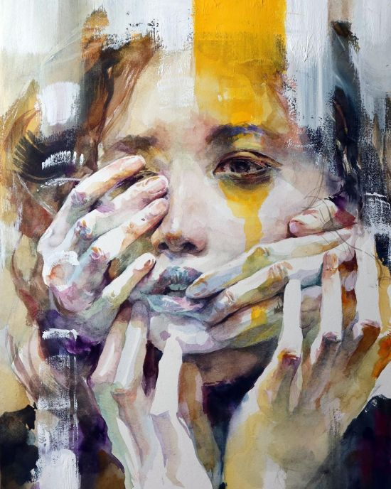Ko Byung Jun instagram arte pinturas aquarelas mulheres cores surreais