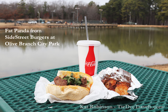 A Fat Panda sandwich with Old Bay Potatoes and a sweet tea from SideStreet Burgers at Olive Branch City Park in Olive Branch, MS.