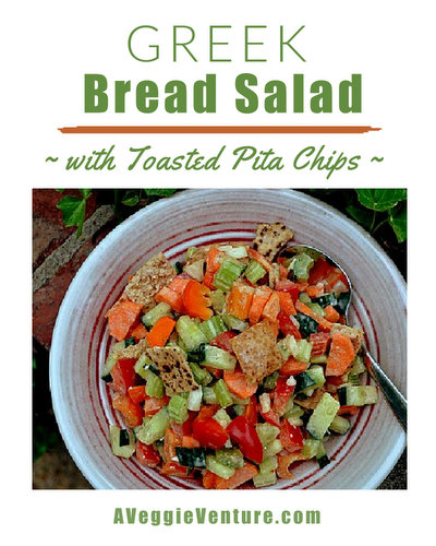 Greek Bread Salad with Toasted Pita Chips ♥ AVeggieVenture.com. Great crunch and color. Kid Friendly! Weight Watchers Friendly!