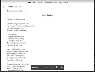 Soal Pts Bahasa Sunda Kelas 8 Sem Ganjil Kurikulum 2013 Soal Pelajaran