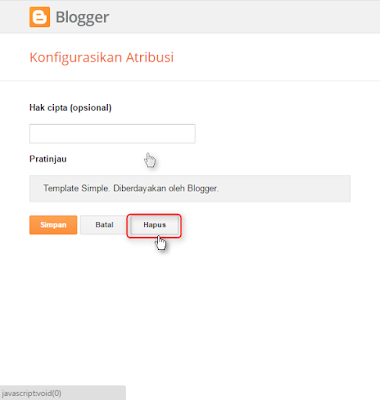 Cara menghilangkan link diberdayakan oleh blogger