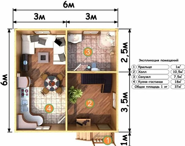 House project from a bar of 12 square meters