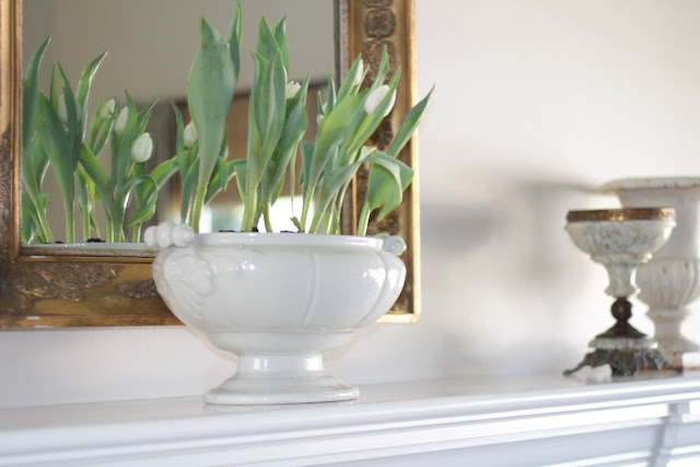 spring-tour-white-tulips-mantel white ironstone tureen