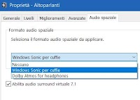Audio spaziale 3D per le cuffie in Windows 10