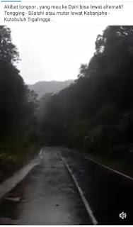 Viral, Video Jalan Tertutup Longsor di Lae Pondom Batas Dairi-Karo Hoax