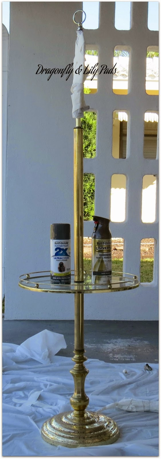 Brass Floor Lamp, rusted, Paint Cans, Table Cloth, Dollar Store, Before