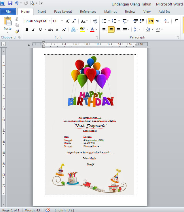 contoh undangan ulang tahun    ultah file microsoft word