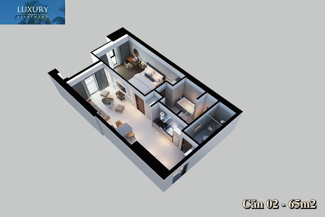 Mặt bằng căn 02 của Luxury Apartment