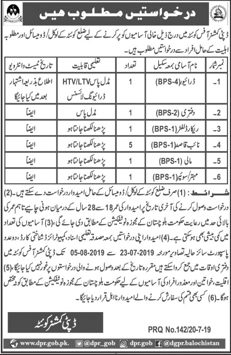 Advertisement for Deputy Commissioner Office Jobs