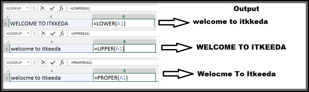 Formula for Capital, Lower and Proper case in Excel and Word 1