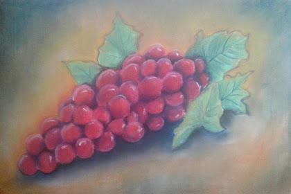 Menggambar buah anggur menggunakan pastel
