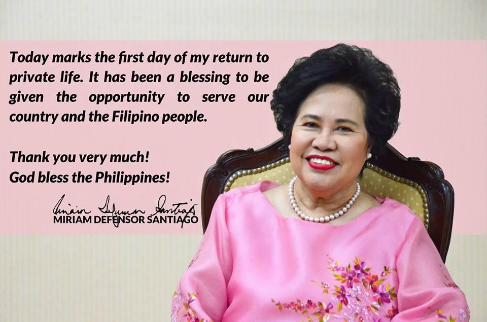 Former Senator Miriam Santiago dead at 71