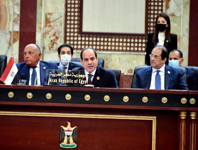 كلمة  الرئيس السيسي رئيس جمهورية مصر العربية خلال أعمال مؤتمر بغداد للتعاون والشراكة