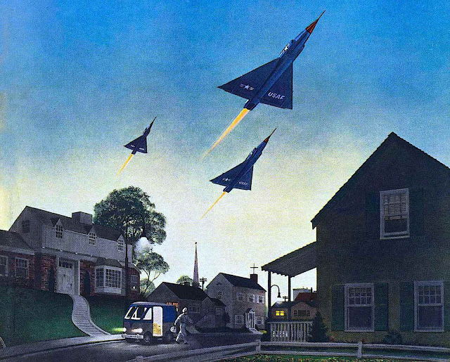 a 1955 war illustration, military jets flying over a calm suburb