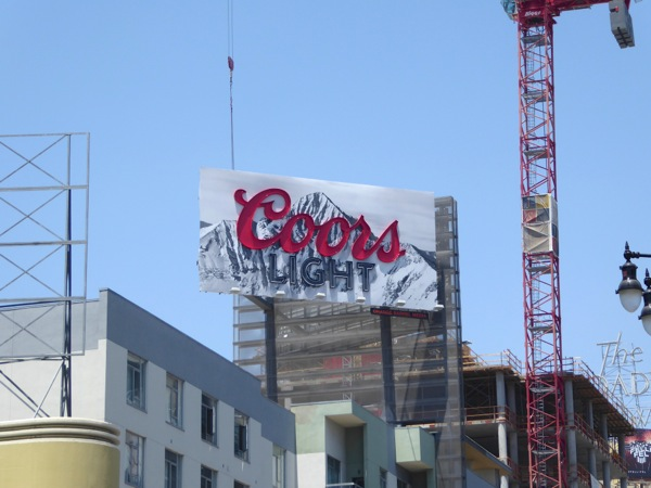 Coors Light neon sign billboard Hollywood