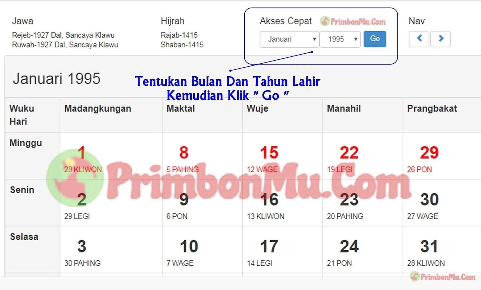 Cara Cek Weton Dari Hari Tanggal Lahir Dengan Kalender Jawa Online