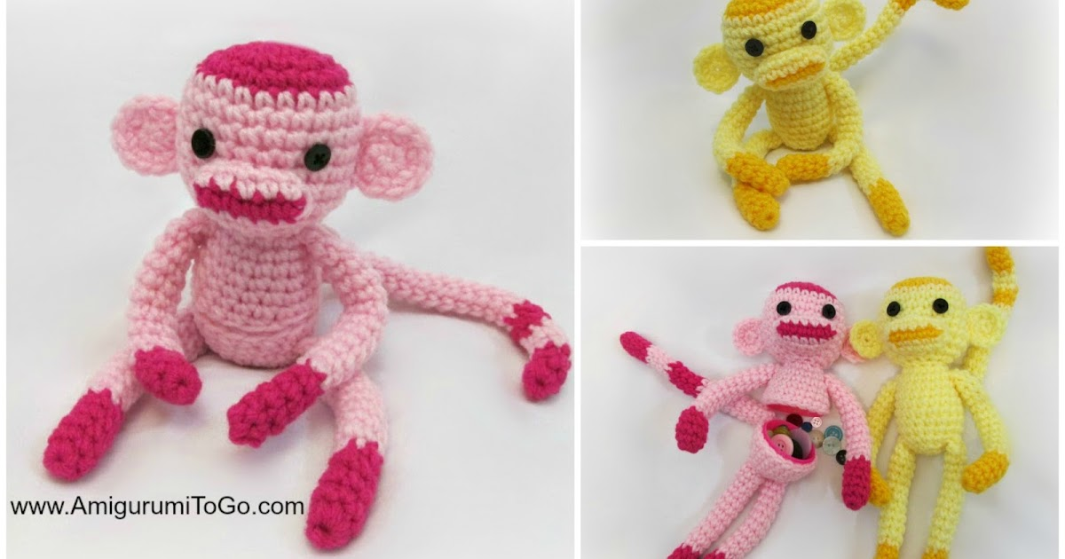 Amigurumitogo Sock Monkey : Rosey the monkey and friends with egg and without amigurumi to go
