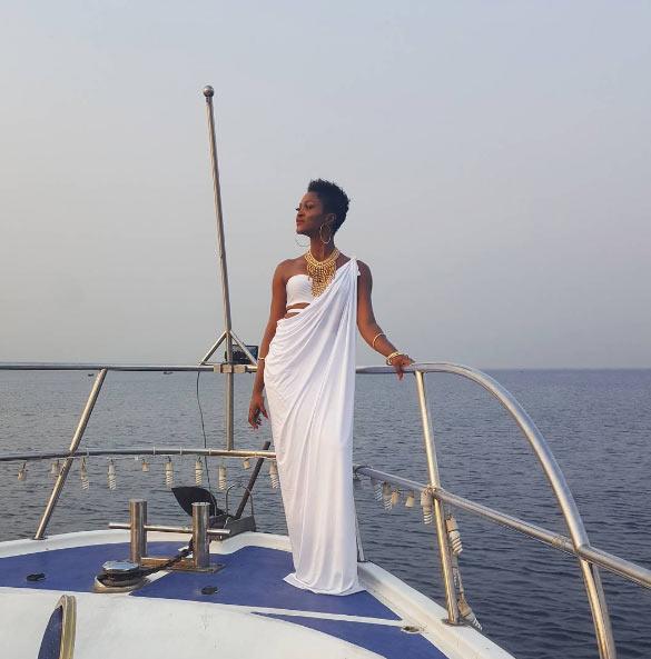 Eva Alordiah looks alluring in sheer white robe