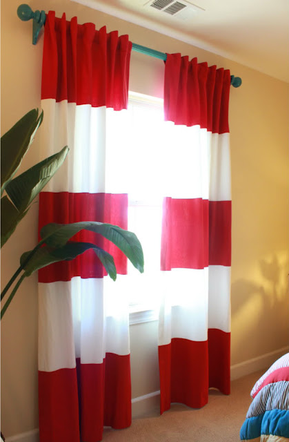red and white striped curtains with borders