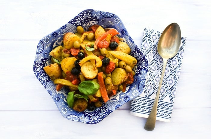 roasted potato salad with veg