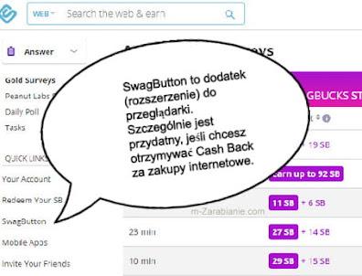 SwagButton, dodatek do przeglądarki w SwagBucks.