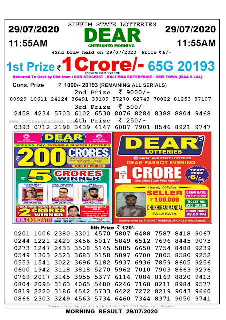 Sikkim State Lottery Sambad 29-07-2020 Today Result 11.55 AM