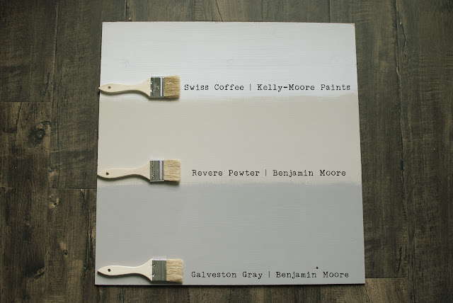 The Perfect Neutral Paint Colors: Revere Pewter, Swiss Coffee, Galveston Gray