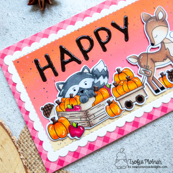 Happy Fall Slimline Card by Zsofia Molnar | Harvest Tails Stamp Set and Slimline Frames & Portholes Die Set by Newton's Nook Designs #newtonsnook