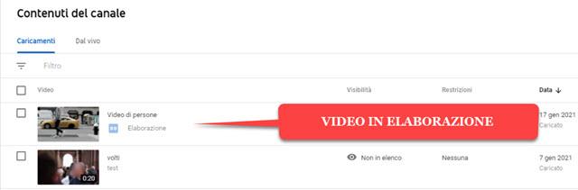 video in elaborazione editor youtube