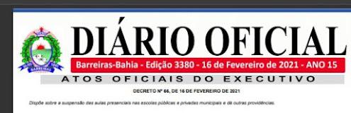 Prefeitura de Barreiras publica novo decreto com restrições para o combate a COVID-19