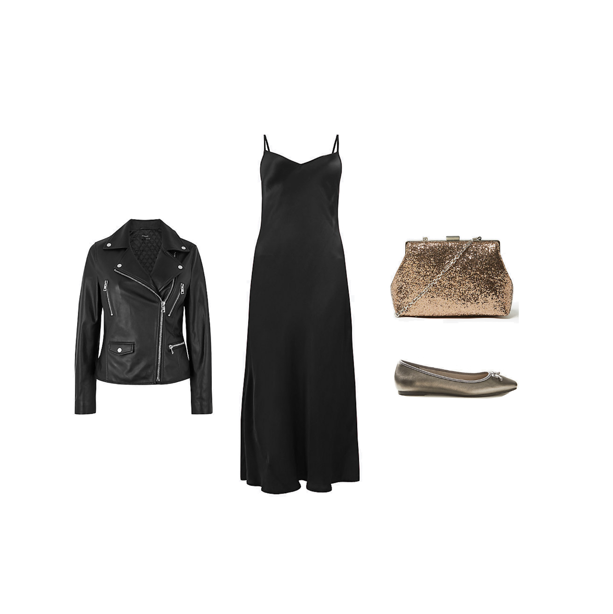 my midlife fashion, marks and Spencer party wear, party wear, marks and Spencer leather biker jacket, marks and Spencer silky slip midi dress, marks and Spencer glitter chain strap shoulder bag, marks and Spencer bow ballerina pumps