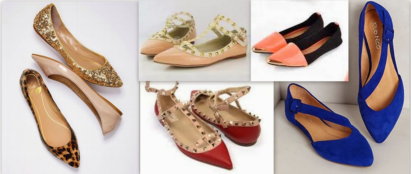 pointy toe flats, red studded flats, cobalt blue flats, nude flats, golden flats, tiger print flats