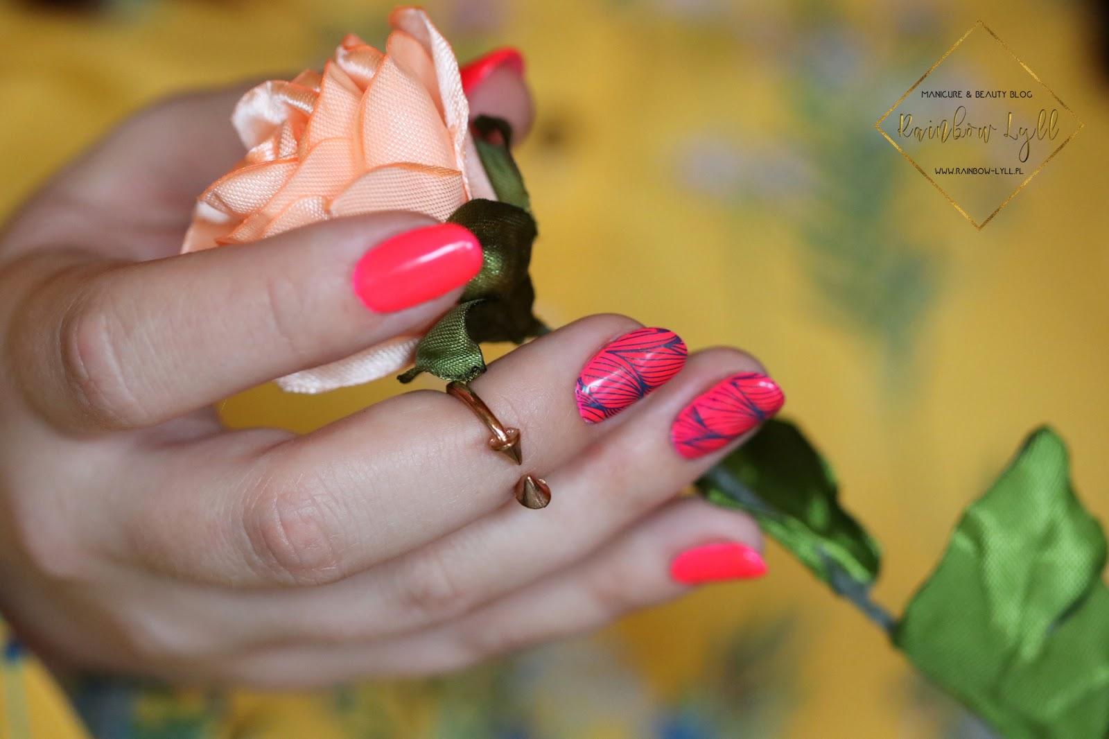 Iliz Beauty Niby Liscie Rozowy Neon Manicure Hybrydowy