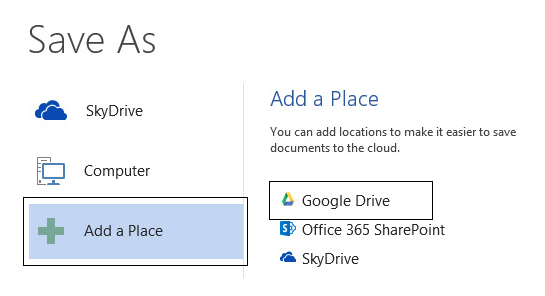 How to Add Google Drive and Dropbox into Office 2013