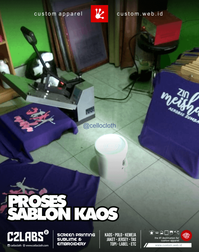 Proses Sablon Kaos in the Workshop Cellos Clothes