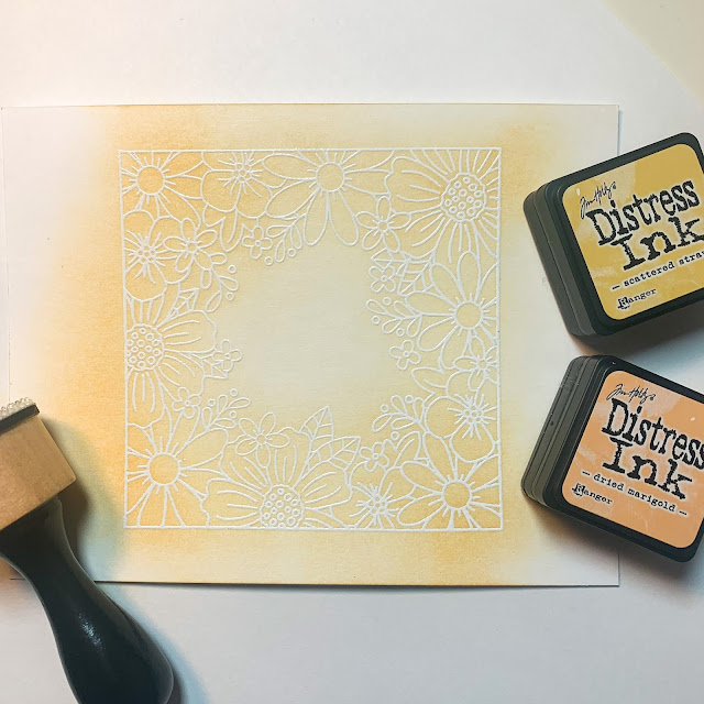 Emboss resiste inking by February Guest Designer Caitlin Anthony | Floral Fringe Stamp Sets by Newton's Nook Designs #newtonsnook #handmade