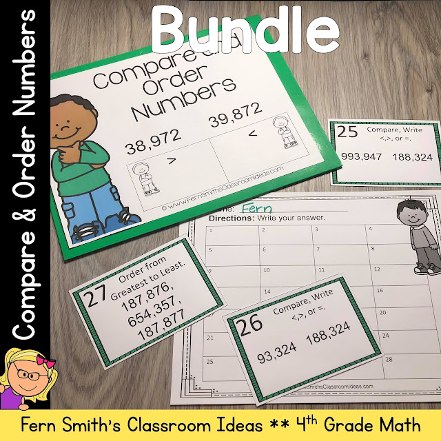 Click Here to Download This 4th Grade Go Math 1.3 Compare and Order Numbers Bundle for Your Classroom Today