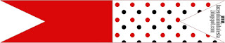 Red Polka Dots in Black and White Food Toppers or Flags.