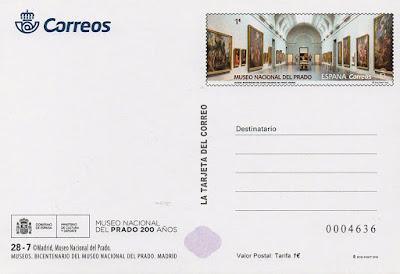 Tarjeta, prefranqueada, museo, Prado