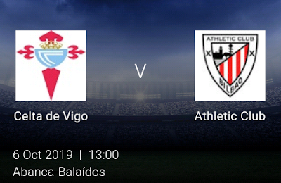 LIVE MATCH: Celta de Vigo Va Athletic Club Spanish Laliga 06/10/2019