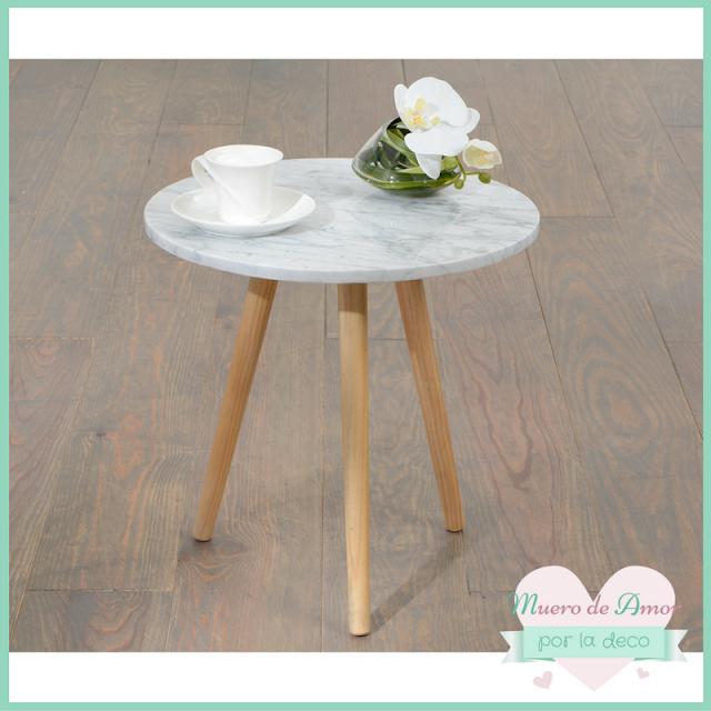 Mesa de madera y mármol