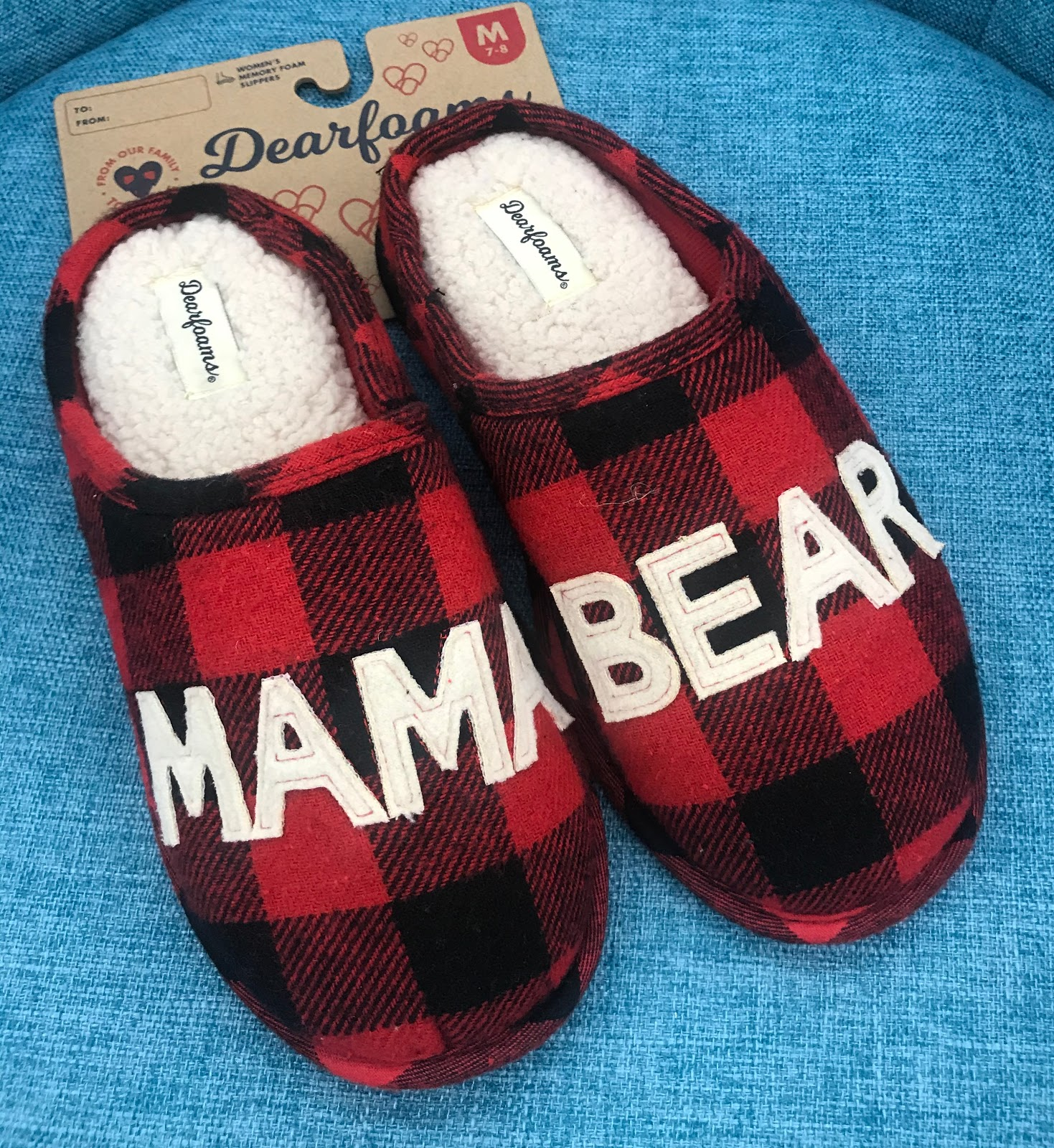 Giving mama bear slippers for the holidays.