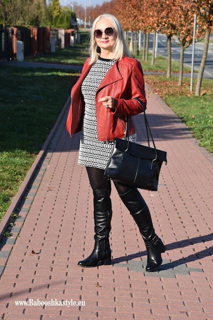 Babooshkastyle, stylistka, kreator wizerunku, blogger50plus, over50, mini, kozaki, Deichmann, Skorzana.pl, ramoneska, leather jacket, kozaki za kolana