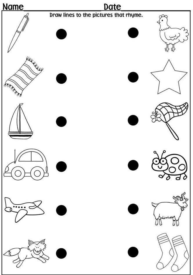 Rhyming Worksheets For Kindergarteners