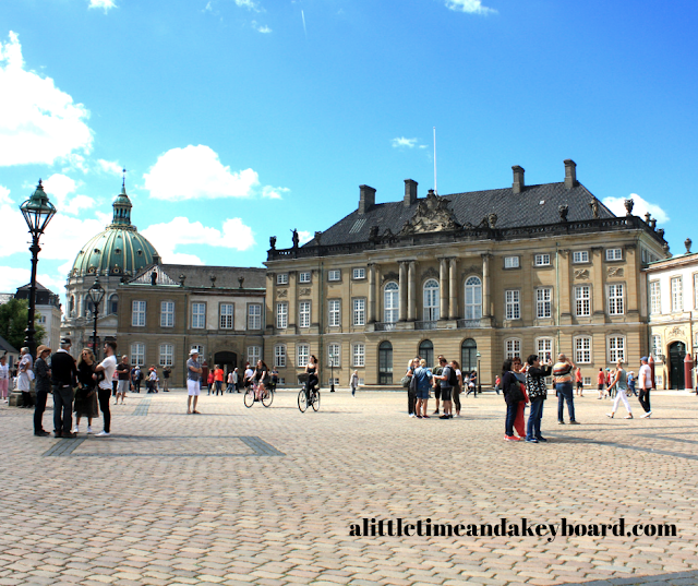 Stately courtyard at Amalienborg Palace in Copenhagen